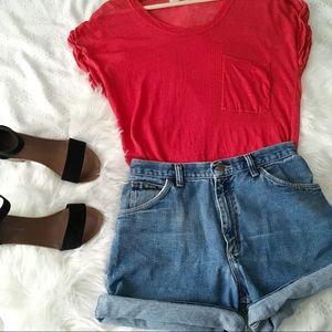 Sheer Linen Knit Red Cap Sleeve Top // Rachel Roy